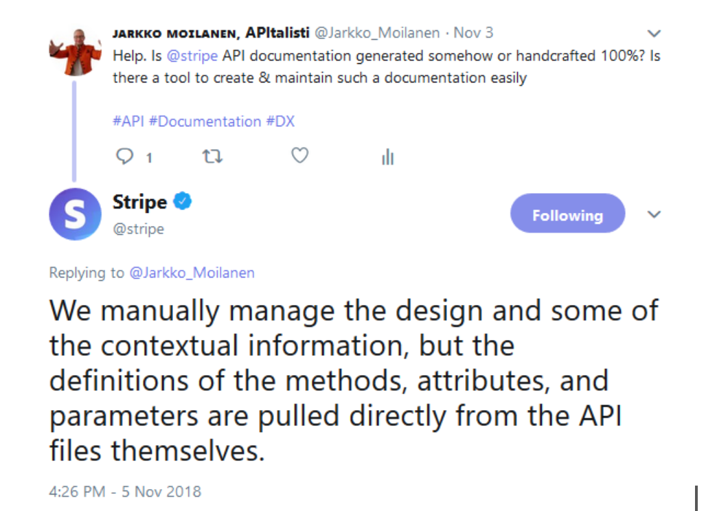 Stripe documentation is combination of automation and manual work.